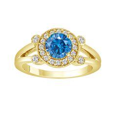 Blue Diamond Engagement Ring 14k Yellow Gold 1.01 Carat Certified Handmade Halo Pave