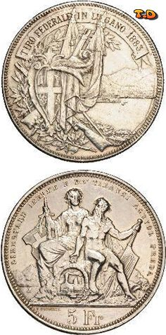 N♡T. 5 Franc Metal: Silver State: Switzerland              Issue year(s): 1883