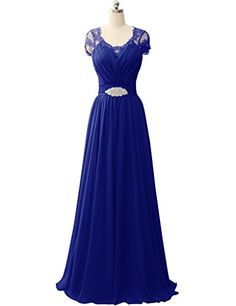 HUINI Lace Cap Sleeves V-Neck Chiffon Prom Evening Dresse... http://a.co/gXgMzxW