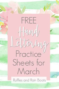 """""""Here is the list of fun and festive March hand lettering prompts for lettering practice, March crafts, doodles, or even bullet journal layouts for March. I've included three fonts styles in this month's free hand lettering practice workbook. Hand Lettering For Beginners, Hand Lettering Practice, Hand Lettering Quotes, Brush Lettering, Typography, Modern Calligraphy Tutorial, Hand Lettering Tutorial, Valentine Crafts For Kids, Crafts For Kids To Make"""