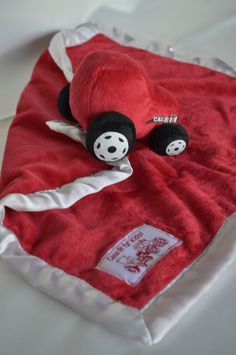 Apple Sauce Fleece Case IH Red Tractor Baby Blanky Blanket White Satin Trim NWT
