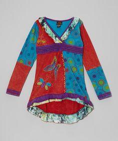 Look at this #zulilyfind! Red & Blue Butterfly Surplice Dress - Girls by Rising International #zulilyfinds