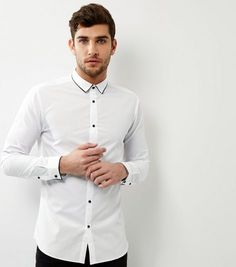 White Contrast Trim Long Sleeve Shirt   New Look