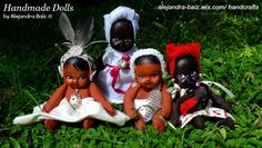 These dolls are inspired in our African and Taino heritage. I make their faces with clay and their body with fabric. Handpainted and signed because they are special and unique.