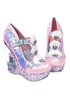 Love The Little Mermaid? Then you will absolutely love this Irregular Choice Disney Princess- The Little Mermaid Make A Splash Wedge High Heels! Disney Little Mermaids, The Little Mermaid, Mermaid Heels, Irregular Choice Heels, Wedge Heels, High Heels, Quirky Shoes, Princess Shoes, Disney Princess