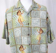 Tommy Bahama Hawaiian Shirt XL Hula Girl Bamboo Patchwork 100% Silk Camp A46…