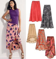 Sewing Pattern Easy Skirt Pattern, Mock Wrap Skirt Pattern, Pull-on Skirt Pattern, High Low Skirt Pattern, McCall's Sewing Pattern 6567 Mccalls Sewing Patterns, Dress Patterns, Pattern Skirt, Sewing Clothes, Diy Clothes, Blouse And Skirt, Pattern Fashion, Diy Fashion, Lady