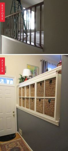19 Ideas split level remodel railings stairs - Home & DIY Home Diy, Built In Bookcase, Split Foyer Remodel, Renovations, Ikea Built In, Built In Storage, Stair Remodel, Remodel, Basement Remodeling