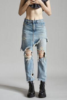 Denim Skirt and Cropped Jean High Rise Classic Fit Super Distressed Wash Destroyed Skirt and Jean Hems Leyton Blue Wash 100% Cotton Machine Wash Made in Italy R13W0195-200