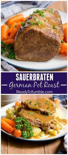 Cooler weather - and Oktoberfest! - is the perfect time to enjoy super tender and flavorful Sauerbraten, a German pot roast.Cooler weather - and Oktoberfest! - is the perfect time to enjoy super tender and flavorful Sauerbraten, a German pot roast. Meat Recipes, Cooking Recipes, Polish Recipes, Game Recipes, Top Recipes, Beef Dishes, International Recipes, The Best, Main Dishes