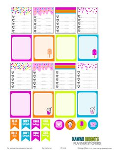 Free printable download of planner stickers suitable for vertical weekly planners or other types of papercrafting. For personal use only.