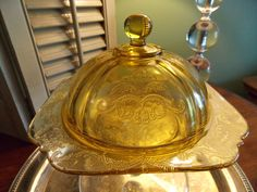 BUTTER DISH with Dome Cover Amber by VintageCreativeAccen on Etsy