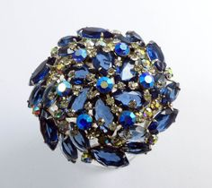 Juliana High Domed Blue and AB Rhinestone Large Rhodium Plated Brooch