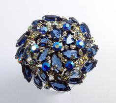Juliana High Domed Blue and AB Rhinestone Large Rhodium Plated Brooch - Vintage Lane Jewelry - 1