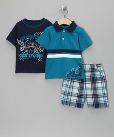 Take a look at this Turquoise & Navy 'Rock Legend' Shorts Set - Infant & Toddler by Boys Rock on #zulily today!