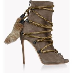 Dsquared2 Ankle Boot ($1,410) ❤ liked on Polyvore featuring shoes, boots, ankle booties, laced up boots, open-toe boots, short boots, lace-up ankle booties and fur ankle boots