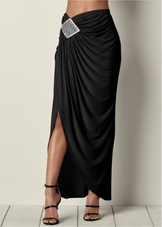 Venus Women 's Embellished Long Skirt - Schwarz, Größe S - fashion - Skirt Skirt Outfits, Dress Skirt, Slit Skirt, Mode Hijab, Dress Patterns, Designer Dresses, Fashion Dresses, Womens Fashion, Cute Fashion