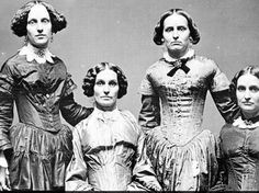 The Clark sisters, in a portrait made between 1840 and 1850. Writing on the back identifies the women as L to R: Aunt Harriet Allen, Aunt Ladonna Hoy, Grandma Joanette C-B, Aunt Julia Millard, and Aunt Laura..