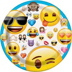 "7"" Emoji Party Plates, 8-Count - Walmart.com"