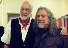 Robert Plant backstage with Mick Fleetwood from Fleetwood Mac on July 7, 2015 in Birmingham