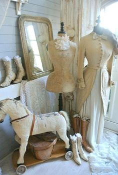 white dress forms vintage rocking horse. I really want a dress form!