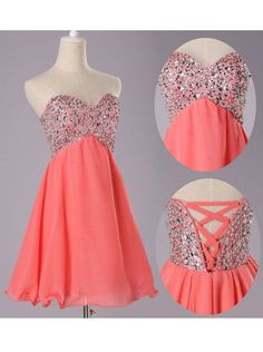 $68.99  Sexy A-line Sweetheart Short Chiffon Lace-up Beading Homecoming Dress CHHD-7230