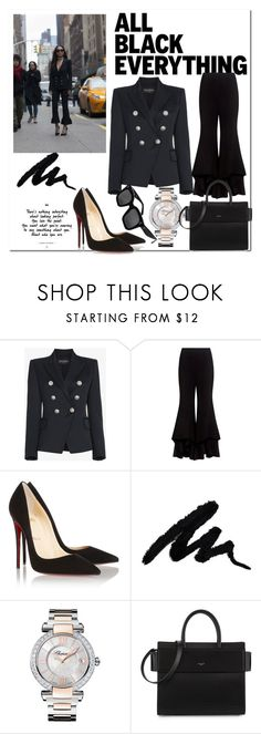 """Suited for Each Other..."" by nfabjoy ❤ liked on Polyvore featuring Balmain, Alexis, Christian Louboutin, Chopard, Givenchy, CÉLINE and allblackoutfit"