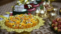 Preparing sweet pastry, egg, fruits and dowry for marriage settlement on Laos wedding ceremony day