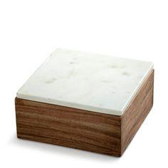 træ skrin med marmor låg - small wooden box with white marble lid nordstjerne