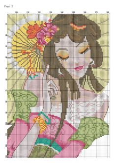 0 point de croix fille et eventail - cross stitch girl and fan