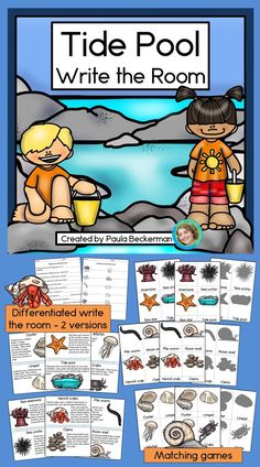 Tide Pool Write the Room, Matching Games, and Reading Comprehension Reading Comprehension Activities, Reading Passages, Comprehension Questions, 1st Grade Science, Teaching First Grade, Elementary Science, Elementary Education, Kindergarten Writing, Literacy