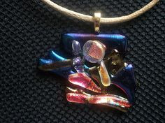 Large Fused Dichroic Glass Original One Of A Kind ALIEN Series Pendant AP1210T - Dune Glass