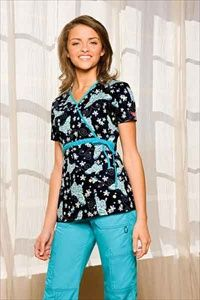 """Dickies Mock Wrap Scrub Top in """"Tiffany Butterfly"""" 82728-TFBU     A Junior fit mock wrap top features a contrast tie at the empire waist for an adjustable fit. Also featured are two front patch pockets, side vents and back elastic. Center back length: 25 1/2"""". $20.25 #scrubs #scrubcouture #nurses"""