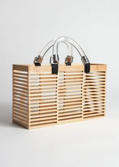 Clear Handle Wooden Tote - Beige - Totes - & Other Stories Leather Crossbody Bag, Leather Backpack, Leather Totes, Cute Skirt Outfits, Clear Tote Bags, Wooden Bag, Zara, Fabric Bags, Big Bags