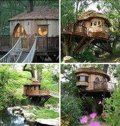 tree house for backyard? Kids House, My House, Cool Tree Houses, Tree House Designs, In The Tree, Play Houses, Houses Houses, Hobbit Houses, Fairy Houses