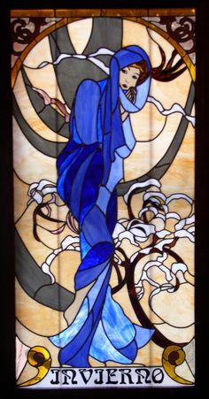 Alphonse Mucha Stained Glass Panel