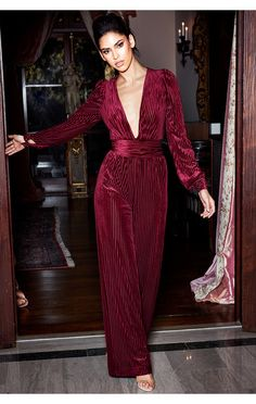 69b3d2c3c9 Clothing   Jumpsuits    Evelina  Wine Lurex Deep Plunge Jumpsuit House Of  Cb