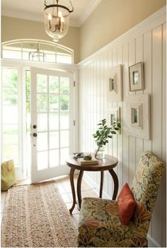 Dead link but this wainscoting would make short ceilings look taller.