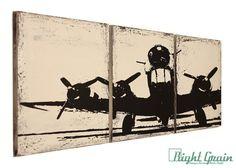 Vintage Airplane Artwork - Custom Made 12x36 Wall Art - Airplane Nursery Decor