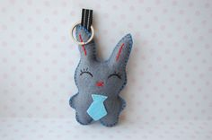 felt Rabbit key chain, bag charm Bunny with a tie, cool gift. $5.00, via Etsy.