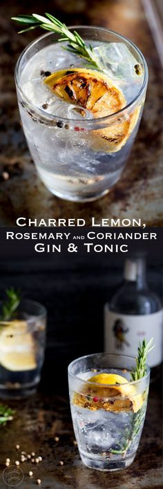 This Charred Lemon, Rosemary and Coriander Gin & Tonic is something special! - This Charred Lemon, Rosemary and Coriander Gin & Tonic is something special! The flavours are so pe - Cocktails Champagne, Fun Cocktails, Party Drinks, Summer Drinks, Cocktail Drinks, Cocktail Recipes, Alcoholic Drinks, Beverages, Liquor Drinks