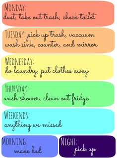 my dorm cleaning schedule (bathroom included)