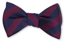 Navy/Burgundy All Silk Bow Tie Hand-made in USA Click for Bow Tie Styles R. Hanauer bow ties are made to order.  If you are unsure about a color or design, just