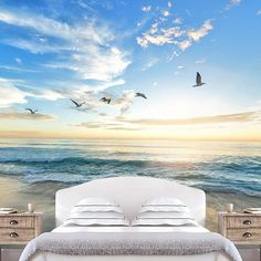 Signwin Beach Wallpaper, Ocean Wallpaper, Sea Shore Wall Mural, Ocean Wall Mural, Removable Wallpaper, Beach Wall Mural, Tropical Wall Decor