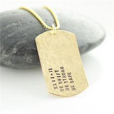 #gold dog tag #mens necklace #lucky horn gifts Personalized 14k gold filled dog tag necklace
