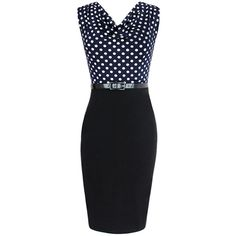 Navy Blue Ladies Polka Dot Patchwork Midi Dresses with Sash ($15) ❤ liked on Polyvore featuring dresses, sash dress, mid calf dresses, spotted dress, dot dress and midi dresses