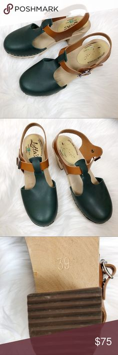 "NWOT Lotta from Stockholm Mules Euro Size 39 These are new without tags. Green toes and nubuck colored t-strap with buckle closure. ~2.5"" heel. Bundle for a private offer discount! Lotta from Stockholm Shoes Mules & Clogs"