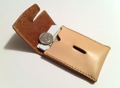No. 23 Geometric leather card wallet by MWRleather on Etsy, $35.00