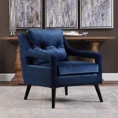 Uttermost O'Brien Blue Velvet Armchair