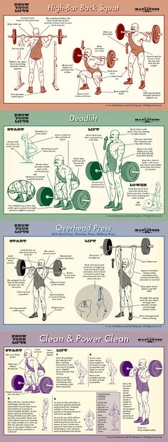 Know your lifts! Proper form for barbell squat, deadlift, overhead press and power clean.